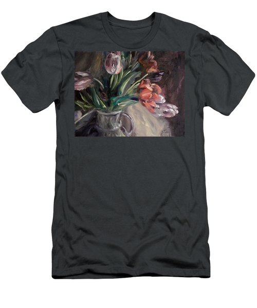 Men's T-Shirt (Slim Fit) featuring the painting Tulips by Donna Tuten