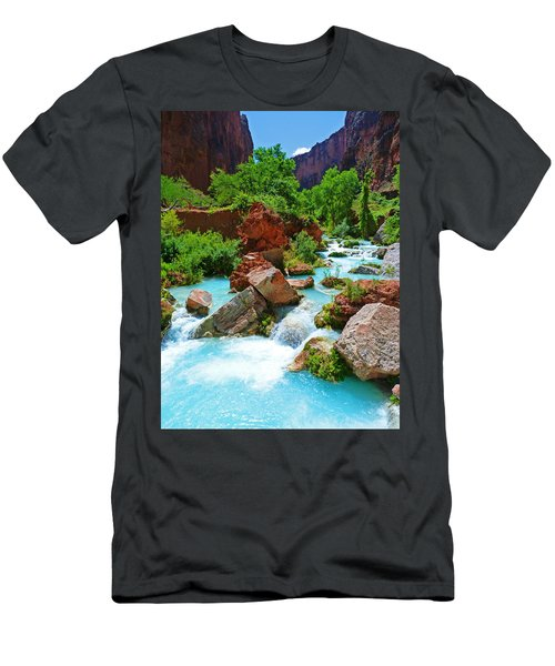Turquoise Stream Men's T-Shirt (Athletic Fit)