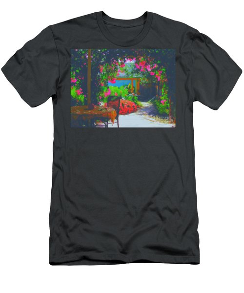 Men's T-Shirt (Slim Fit) featuring the painting Tuscan Courtyard by Tim Gilliland