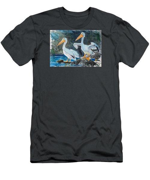 Da208 Twin Pelicans By Daniel Adams Men's T-Shirt (Athletic Fit)
