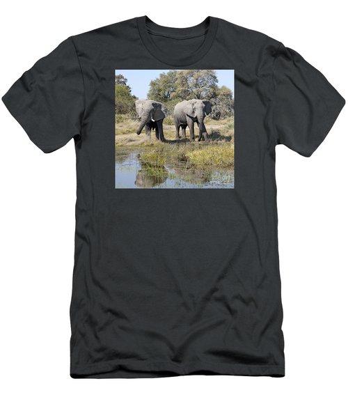 Men's T-Shirt (Slim Fit) featuring the photograph Two Male Elephants Okavango Delta by Liz Leyden