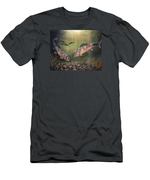 Two Rainbow Trout Men's T-Shirt (Slim Fit) by Donna Tucker