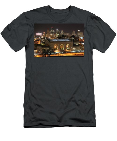 Union Station At Night Men's T-Shirt (Slim Fit) by Lynn Sprowl