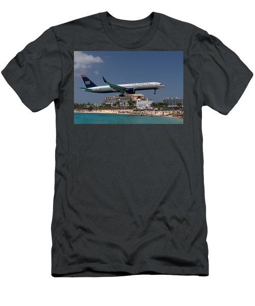 U S Airways At St Maarten Men's T-Shirt (Slim Fit) by David Gleeson