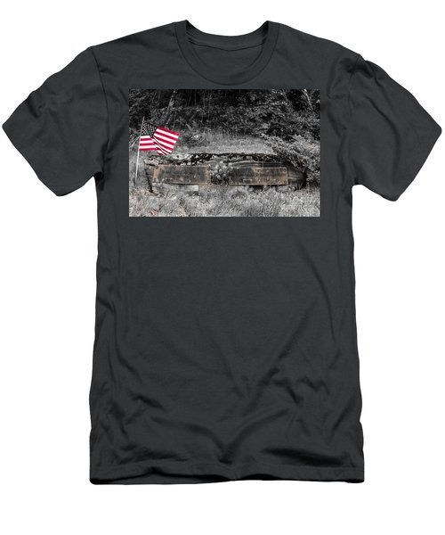 Men's T-Shirt (Slim Fit) featuring the photograph Usmc Veteran Headstone by Sherman Perry