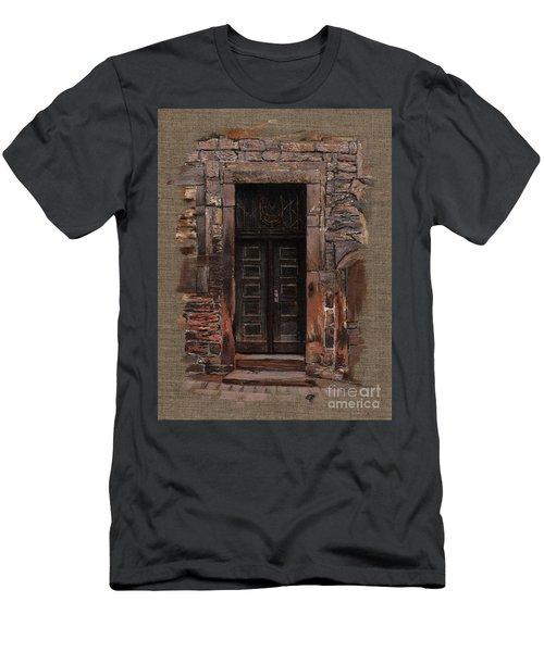 Men's T-Shirt (Slim Fit) featuring the painting Venetian Door 02 Elena Yakubovich by Elena Yakubovich