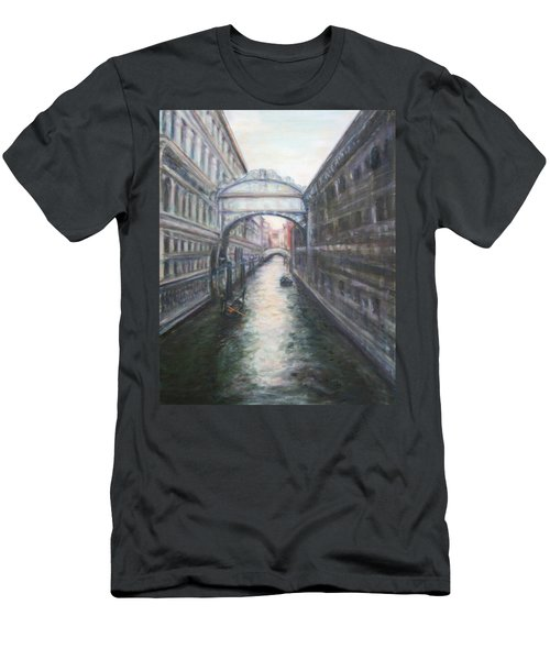 Venice Bridge Of Sighs - Original Oil Painting Men's T-Shirt (Athletic Fit)