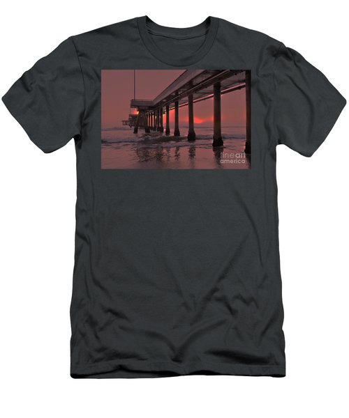 Venice Pier In Red Men's T-Shirt (Athletic Fit)