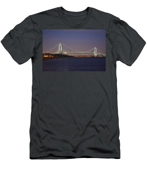 Verrazano Narrows Bridge At Night Men's T-Shirt (Athletic Fit)