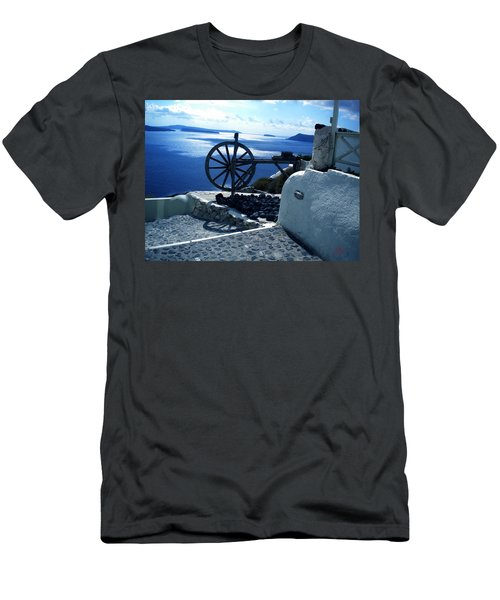 Men's T-Shirt (Slim Fit) featuring the photograph View From Santorini Island Greece by Colette V Hera  Guggenheim