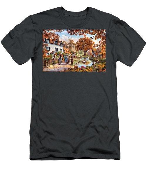 Village In Autumn Men's T-Shirt (Athletic Fit)