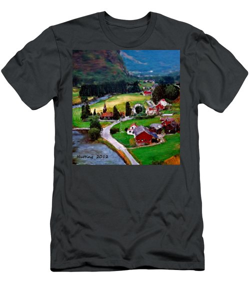 Men's T-Shirt (Slim Fit) featuring the painting Village In The Mountains by Bruce Nutting