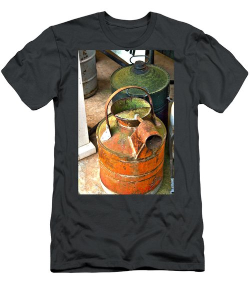 Men's T-Shirt (Slim Fit) featuring the photograph Vintage Orange And Green Galvanized Containers by Lesa Fine