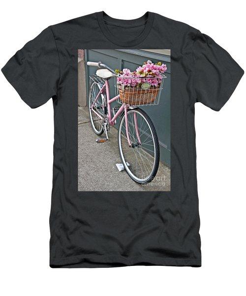 Vintage Pink Bicycle With Pink Flowers Art Prints Men's T-Shirt (Slim Fit) by Valerie Garner