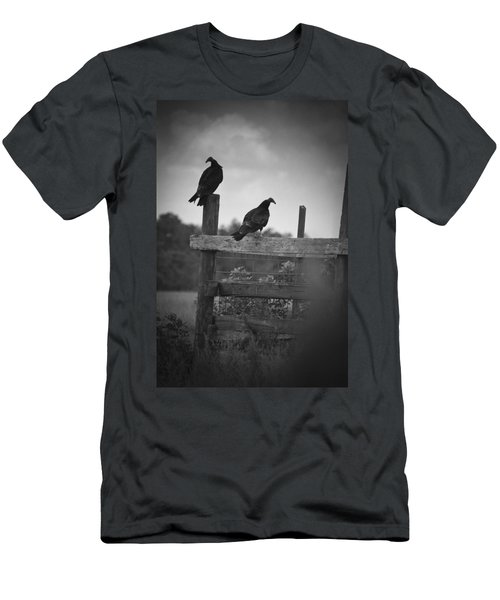 Vultures On Fence Men's T-Shirt (Slim Fit) by Bradley R Youngberg