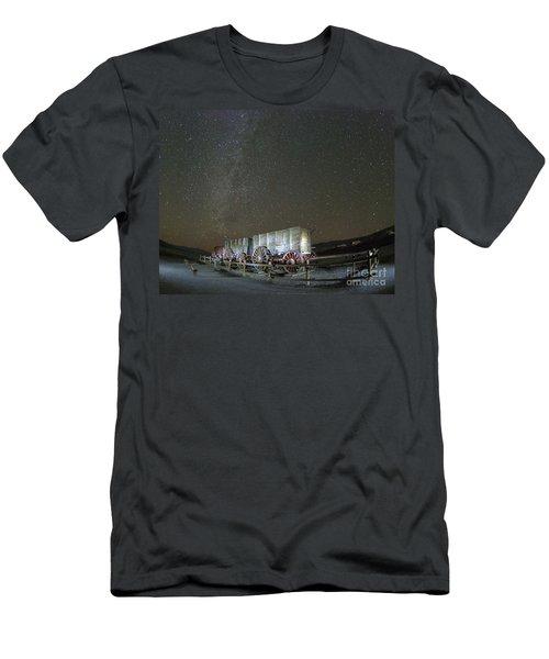 Wagon Train Under Night Sky Men's T-Shirt (Slim Fit) by Juli Scalzi