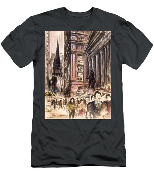 New York Wall Street - Fine Art Painting Men's T-Shirt (Athletic Fit)
