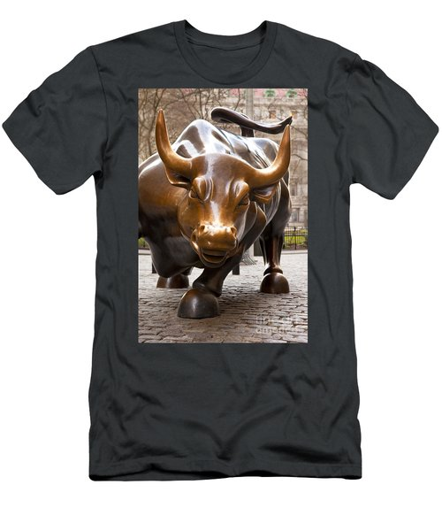 Men's T-Shirt (Athletic Fit) featuring the photograph Wall Street Bull by Brian Jannsen