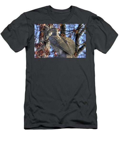 Men's T-Shirt (Slim Fit) featuring the photograph War Eagles - 28th Massachusetts Volunteer Infantry Rose Woods Near The Wheatfield Winter Gettysburg by Michael Mazaika