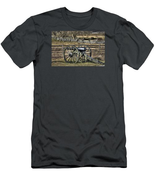 Men's T-Shirt (Slim Fit) featuring the photograph War Thunder - 9th Michigan Btry 1st Michigan Light Artillery Battery I Hancock Ave Gettysburg by Michael Mazaika