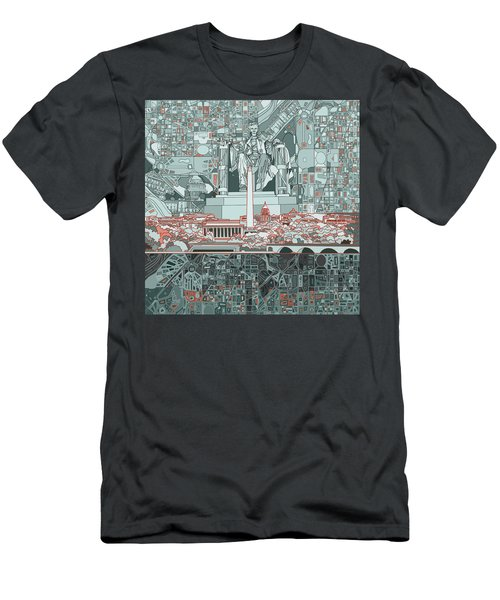 Washington Dc Skyline Abstract Men's T-Shirt (Slim Fit) by Bekim Art