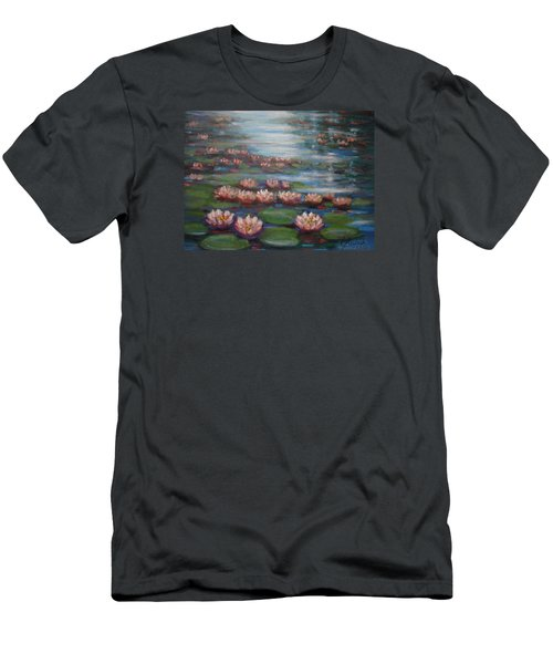 Men's T-Shirt (Slim Fit) featuring the painting Water Lilies In Monet Garden by Laila Awad Jamaleldin