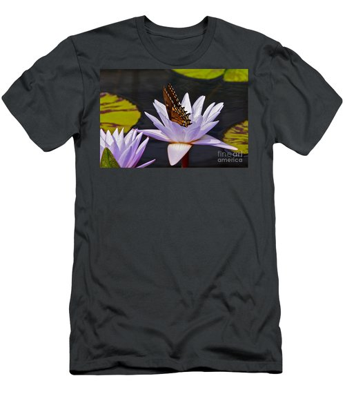 Water Lily And Swallowtail Butterfly Men's T-Shirt (Athletic Fit)