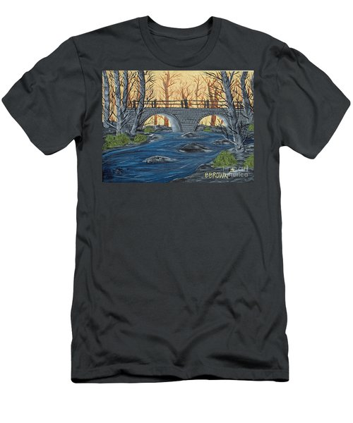 Men's T-Shirt (Slim Fit) featuring the painting Water Under The Bridge by Brenda Brown