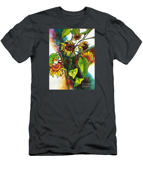 Sunflowers On The Rise Men's T-Shirt (Slim Fit) by Kathy Braud
