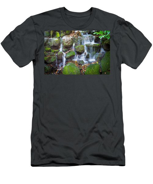 Waterfall In Marlay Park Men's T-Shirt (Slim Fit) by Semmick Photo