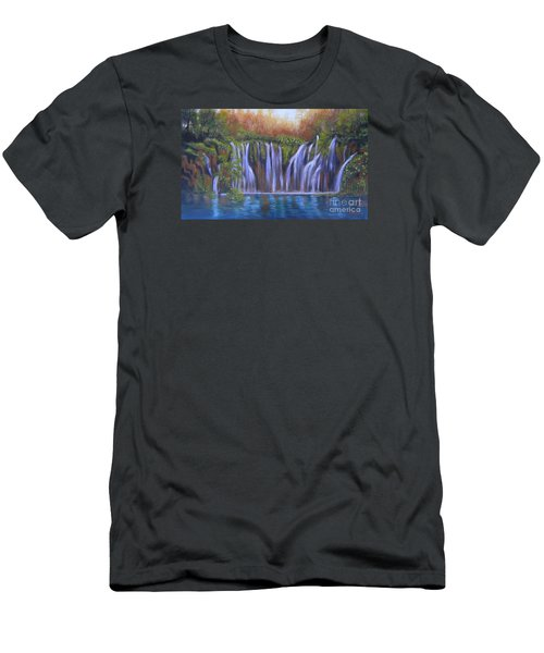 Men's T-Shirt (Slim Fit) featuring the painting Waterfalls - Plitvice Lakes by Vesna Martinjak