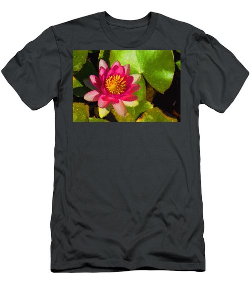 Waterlily Impression In Fuchsia And Pink Men's T-Shirt (Athletic Fit)
