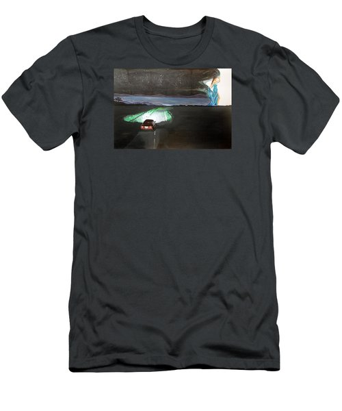 Men's T-Shirt (Slim Fit) featuring the painting When The Night Start To Walk Listen With Music Of The Description Box by Lazaro Hurtado