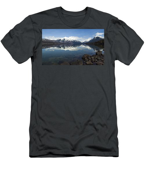 When The Sun Shines On Glacier National Park Men's T-Shirt (Slim Fit) by Fran Riley