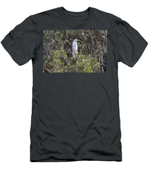 Men's T-Shirt (Slim Fit) featuring the photograph White Egret In The Swamp by Christiane Schulze Art And Photography