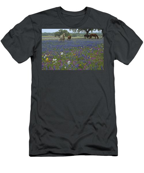 Men's T-Shirt (Slim Fit) featuring the photograph White On Blue by Susan Rovira