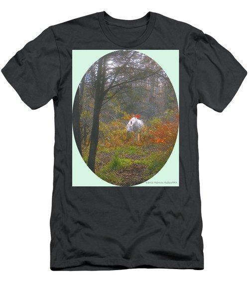 White Paso Fino Stallion Enjoys The Autumn Day Men's T-Shirt (Athletic Fit)
