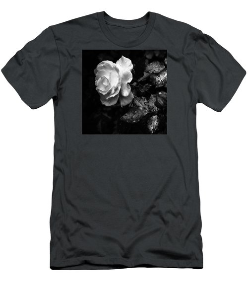 Men's T-Shirt (Slim Fit) featuring the photograph White Rose Full Bloom by Darryl Dalton
