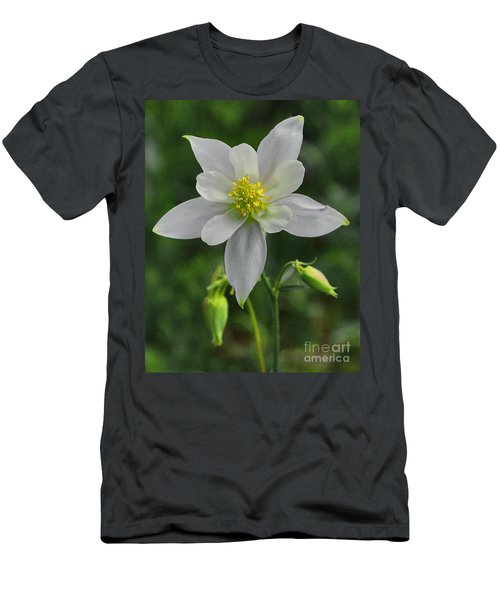 Men's T-Shirt (Athletic Fit) featuring the digital art White Star Flower by Mae Wertz