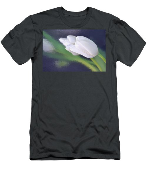 White Tulip Reflected In Dark Blue Water Men's T-Shirt (Athletic Fit)
