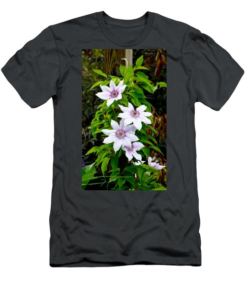 White With Purple Flowers 2 Men's T-Shirt (Athletic Fit)