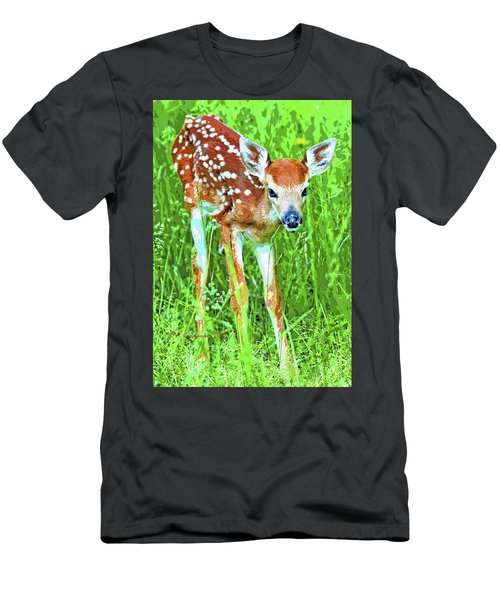 Whitetailed Deer Fawn Digital Image Men's T-Shirt (Athletic Fit)