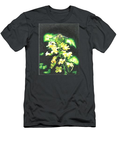 Men's T-Shirt (Slim Fit) featuring the drawing Wild Flower by Troy Levesque