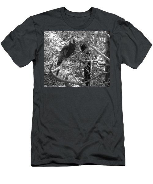 Men's T-Shirt (Slim Fit) featuring the photograph Wild Hawaiian Parrot Black And White by Joseph Baril