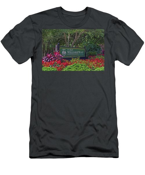 Men's T-Shirt (Slim Fit) featuring the photograph William And Mary Welcome Sign by Jerry Gammon
