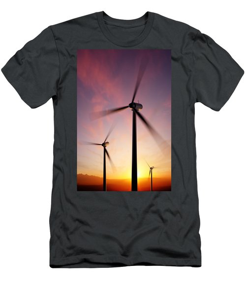 Wind Turbine Blades Spinning At Sunset Men's T-Shirt (Athletic Fit)