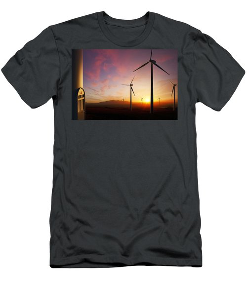 Wind Turbines At Sunset Men's T-Shirt (Athletic Fit)