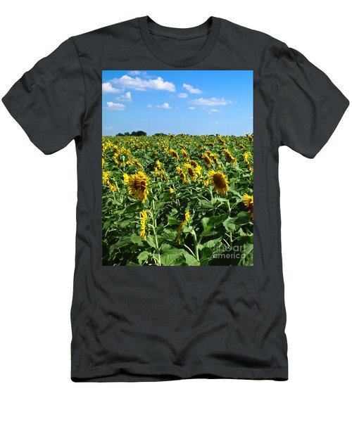 Windblown Sunflowers Men's T-Shirt (Athletic Fit)