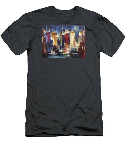 Windy City Nights Men's T-Shirt (Slim Fit) by Kathleen Patrick