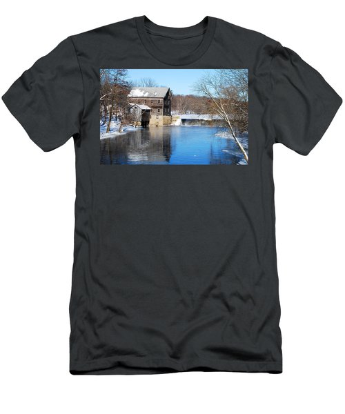 Men's T-Shirt (Slim Fit) featuring the photograph Winter Capture Of The Old Jaeger Rye Mill by Janice Adomeit